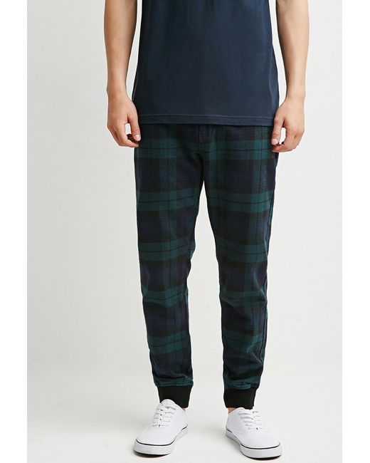 Forever 21 Plaid Flannel Joggers In Green (GREEN/NAVY) - Save 30% | Lyst