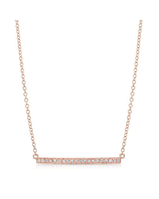 Anne Sisteron - Metallic 14kt Rose Gold Diamond Bar Necklace - Lyst