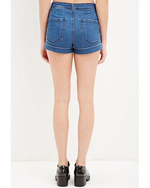 Forever 21 | Blue High-waisted Denim Shorts | Lyst