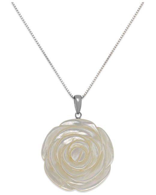 Macy's | Metallic Genuine Mother Of Pearl Carved Flower Pendant Necklace In Sterling Silver (38mm) | Lyst