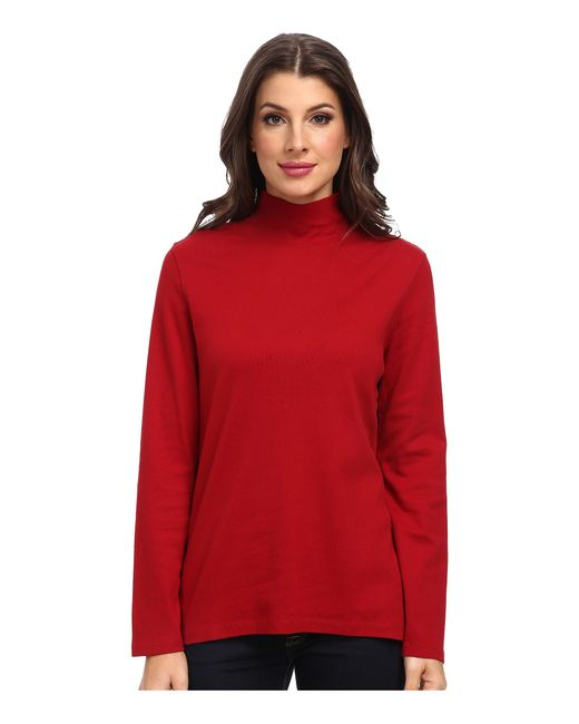 Pendleton | Red L/s Mock Neck Cotton Rib Tee | Lyst