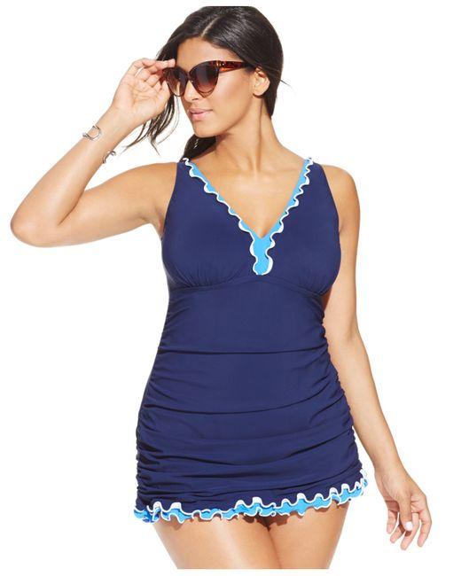 Gottex Plus Size Ruffled One-piece Swimdress In Blue (Navy