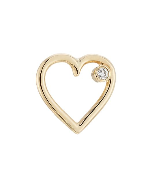 Aurelie Bidermann | Metallic Aurélie Bidermann Fine Jewelry 18kt Yellow Gold Heart Earring With White Diamond | Lyst