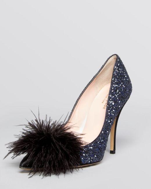 Kate Spade   Blue Lilo Pouf Point-toe Glitter Pump   Lyst