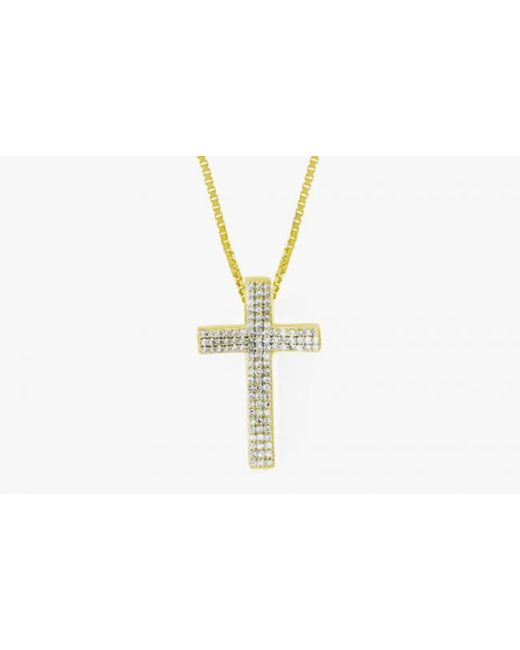 Tateossian | Metallic Precious Cross Micro Pavé Necklace In 18k Yellow Gold With 105 0.32ct White Diamonds for Men | Lyst