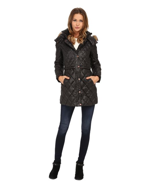 "Marc New York | Black Kava 32"" Diamond Quilted Down W/ Faux Fur Hood 