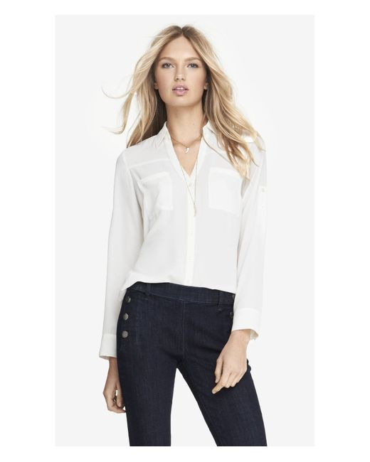 Express | White Original Fit Convertible Sleeve Portofino Shirt | Lyst