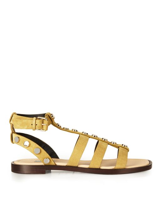 balenciaga amp studembellished suede gladiator sandals in