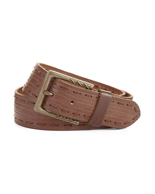 John Varvatos | Brown Leather Stitched Belt for Men | Lyst