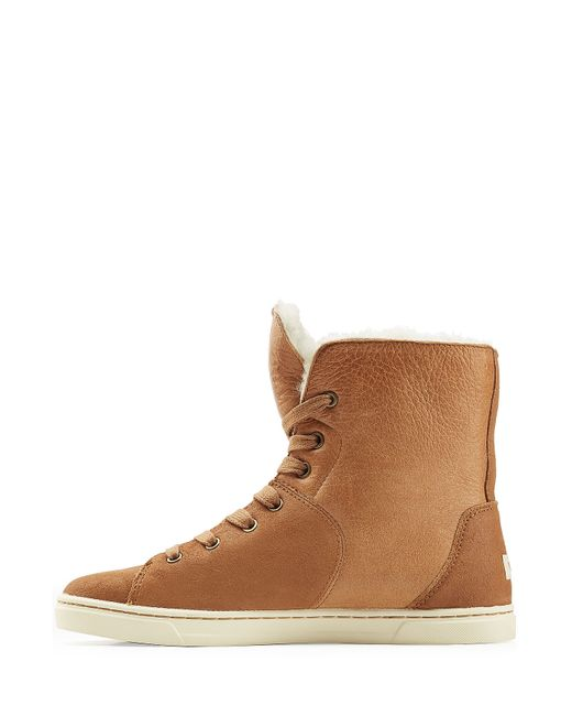 Ugg Craft Leather Sneakers With Sheepskin Brown In Brown