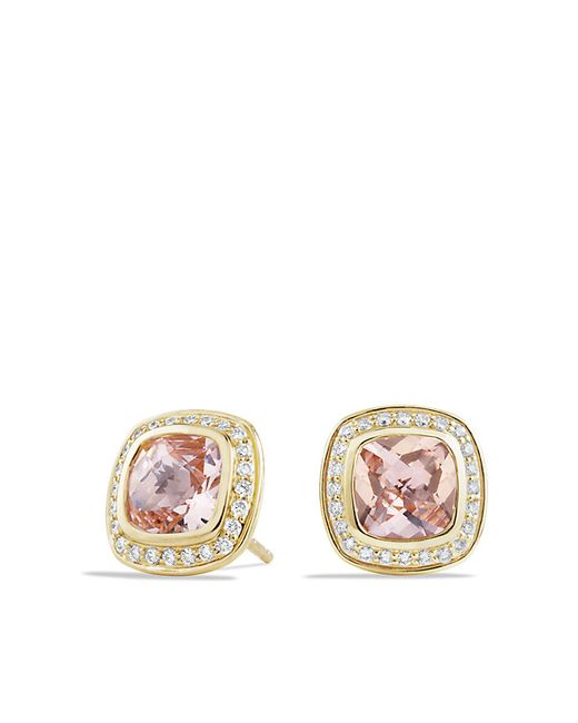 David Yurman | Pink Albion Earrings With Morganite And Diamonds In 18k Gold, 7mm | Lyst