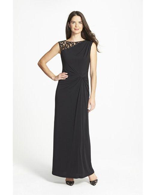 Ellen Tracy | Black Lace & Jersey Gown | Lyst