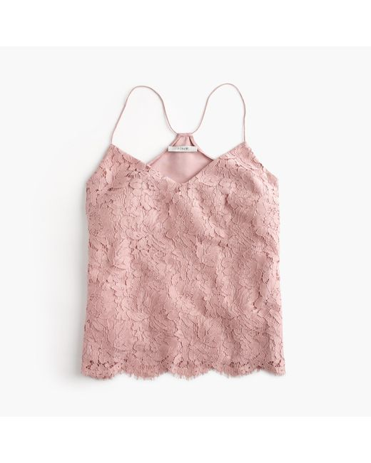 J.Crew | Pink Petite Carrie Cami In Floral Lace | Lyst