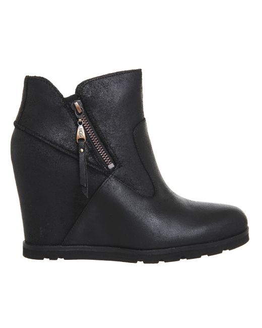 ugg black wedge boots