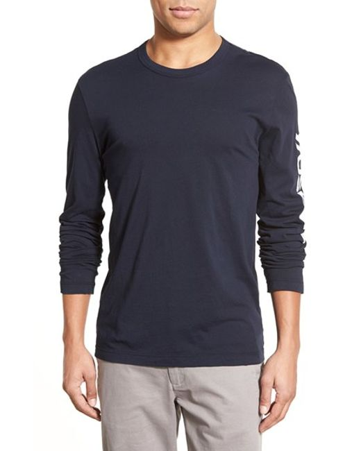 James perse 39 yosemite 39 long sleeve graphic t shirt in blue for James perse t shirts sale