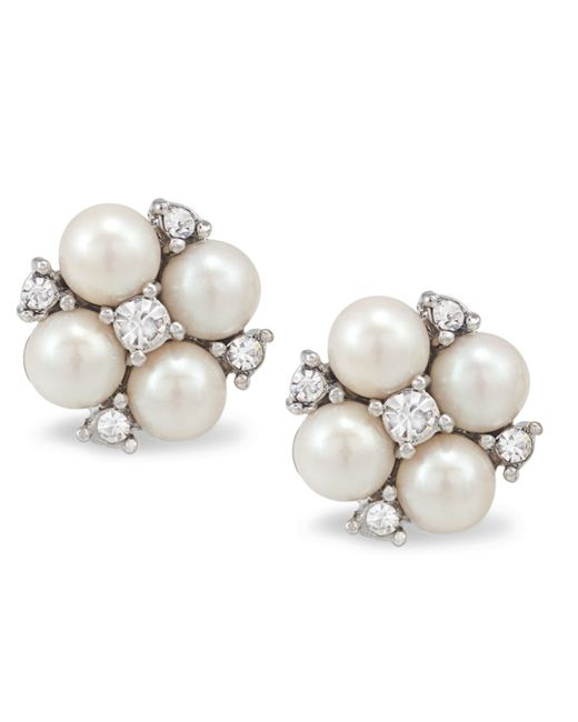 Carolee | Metallic Silver-tone Small Cluster Button Earrings | Lyst