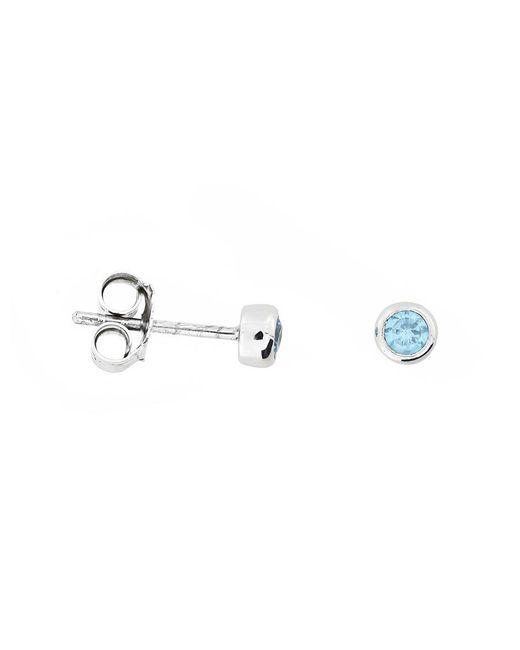 Azendi | Blue 3mm Sterling Silver Aqua Cubic Zirconia Studs | Lyst