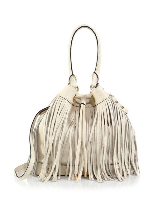 MILLY | White Essex Fringe Drawstring Bag | Lyst
