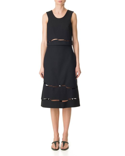 tibi vinales cut out a line skirt in blue black save