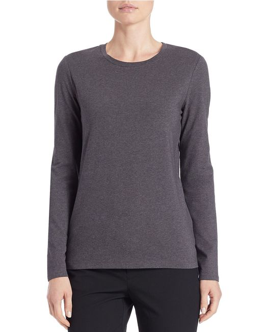 Lord & Taylor | Gray Stretch-cotton Crewneck Tee | Lyst