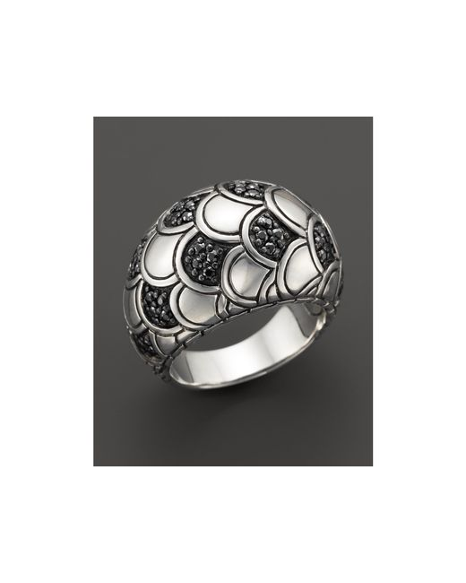 John Hardy | Metallic Women's Sterling Silver Naga Lava Dome Ring With Black Sapphires | Lyst
