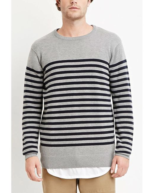 Forever 21 | Gray Striped Cotton Sweater You've Been Added To The Waitlist for Men | Lyst