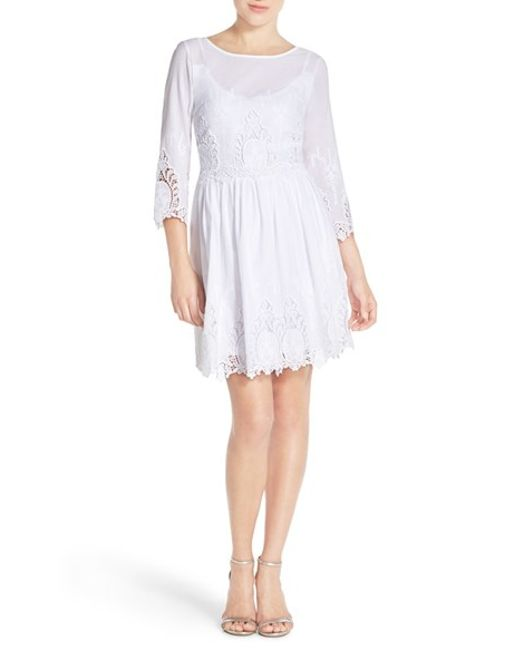 Eci embroidered lace fit flare dress in white lyst