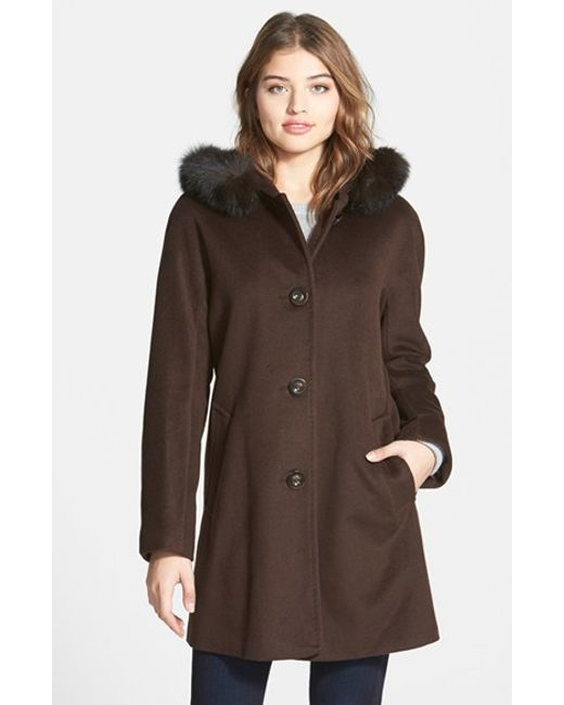Ellen Tracy | Brown Kimono Sleeve Jacket With Genuine Fox Fur Trim | Lyst