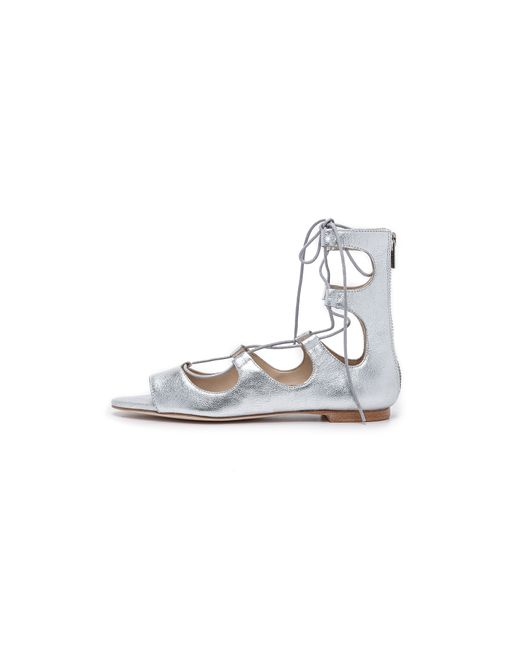 Loeffler Randall | Dani Lace-up Metallic Leather Sandals | Lyst