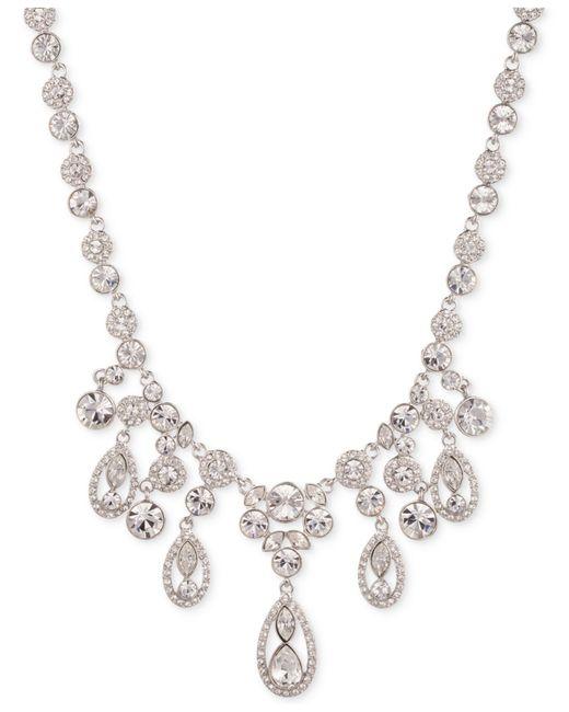 Givenchy   Metallic Rhodium-tone Glass Stone Frontal Drama Necklace   Lyst
