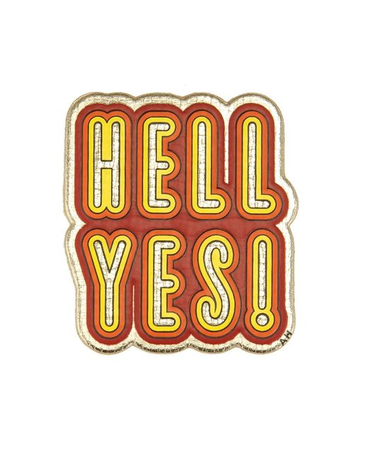 Anya hindmarch Hell Yes Leather Sticker in Multicolor