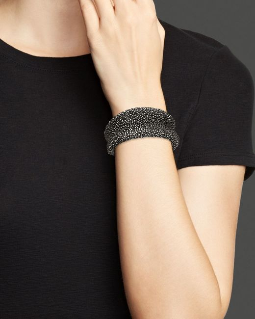 Roberto Coin | Metallic Ruthenium Plated Sterling Silver Stingray Wide Concave Cuff | Lyst