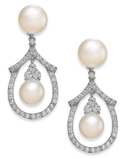 Arabella | White Cultured Freshwater Pearl And Swarovski Zirconia Drop Earrings In Sterling Silver (5 & 6mm) | Lyst