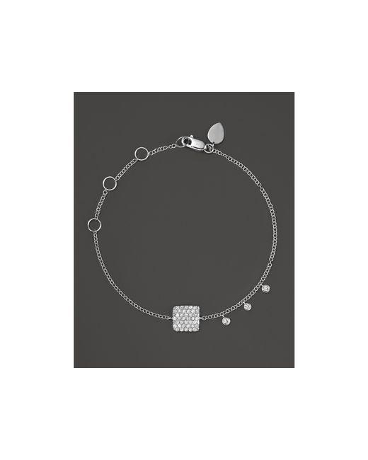 Meira T | 14k White Gold Pavé Diamond Square Bracelet | Lyst