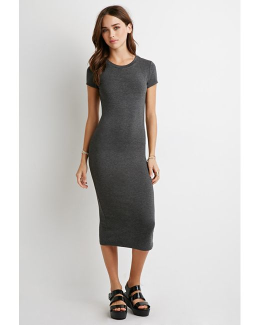 Forever 21 | Gray Midi T-shirt Dress | Lyst