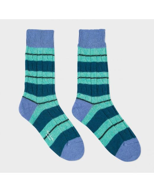 Knitting Pattern For Cashmere Socks : Paul smith Womens Green Striped Cable Knit Wool-cashmere ...