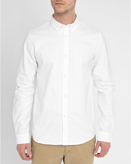 A p c white oxford shirt with button down collar in white for Mens white oxford button down shirt