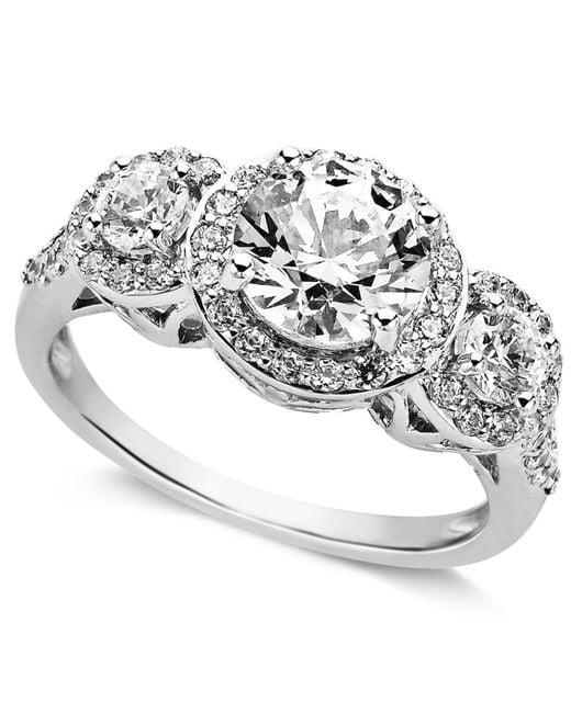 Arabella | Metallic Sterling Silver Ring, Swarovski Zirconia Three Stone Ring (3-1/3 Ct. T.w.) | Lyst