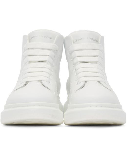 mcqueen white leather high top sneakers in white