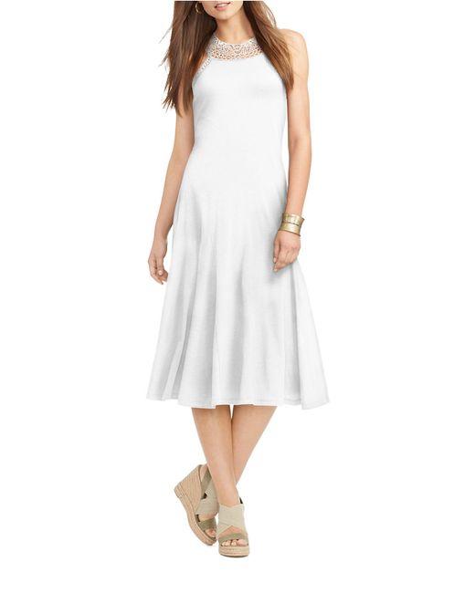 Lauren by Ralph Lauren | White Crochet-trimmed Jersey Dress | Lyst