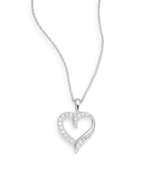 Ak Anne Klein | Metallic Pavé & Sterling Silver Heart Pendant Necklace | Lyst