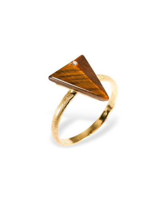 Ona Chan Jewelry | Metallic Triangle Ring With Tiger's Eye & Swarovski | Lyst