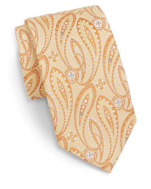 Saks Fifth Avenue | Yellow Paisley Neat Silk Tie for Men | Lyst