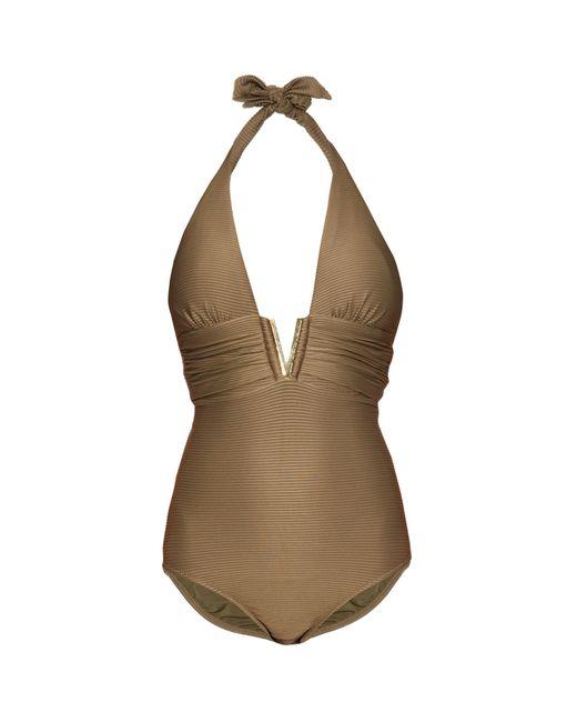 Heidi Klein | Natural Manda Island Plunging Swimsuit | Lyst