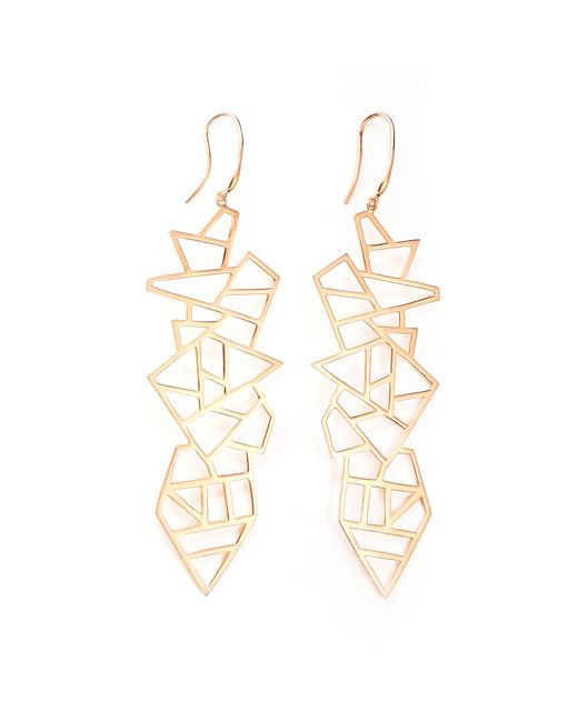 Ona Chan Jewelry | Metallic Long Multi Lattice Drop Earrings Rose Gold | Lyst