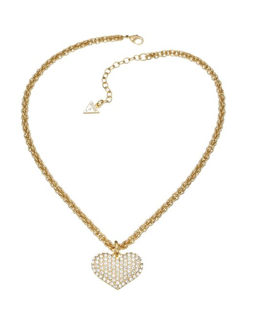 Guess | White Basic Instinct Heart Chain Pendant Gold-plated Necklace | Lyst