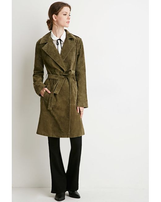 Forever 21 | Green Genuine Suede Belted Trench Coat | Lyst