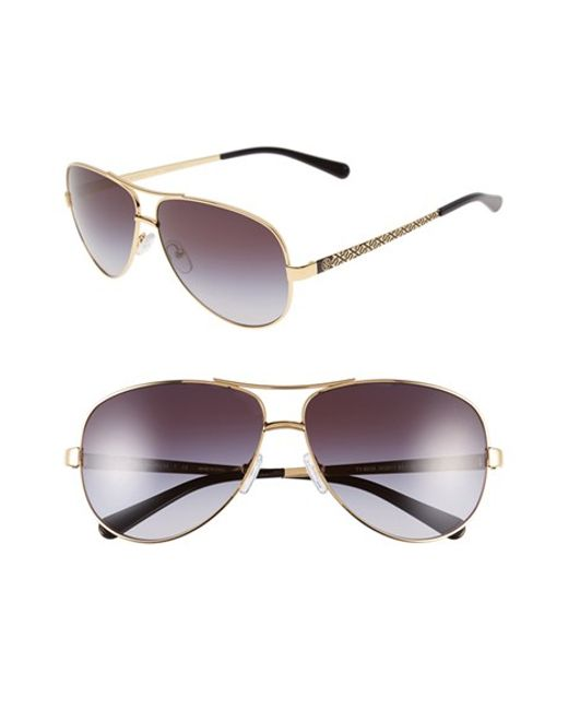 Tory Burch | Gray 60mm Aviator Sunglasses | Lyst