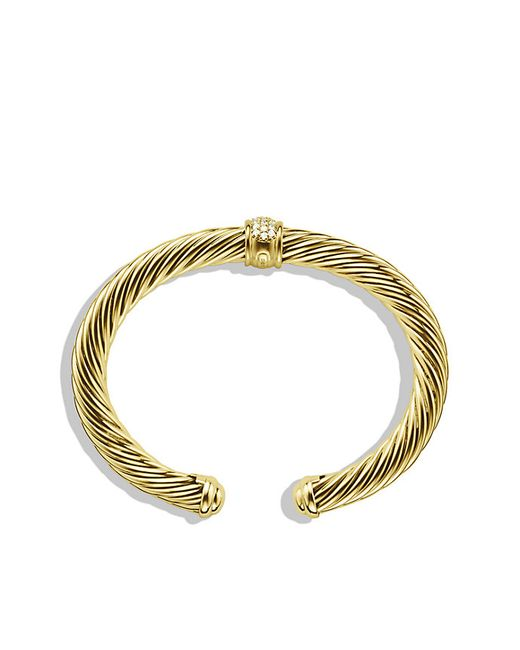 David Yurman | Metallic Cable Classics Bracelet With Diamonds In 18k Gold, 7mm | Lyst