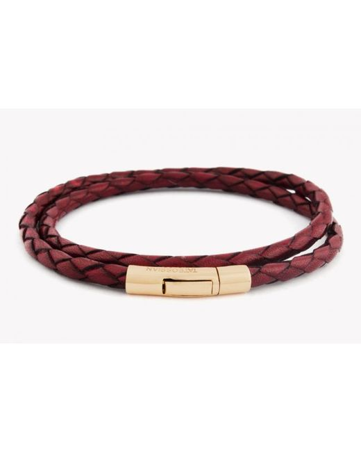Tateossian | Double Wrap Scoubidou Red Leather Bracelet With 18k Rose Gold Clasp for Men | Lyst
